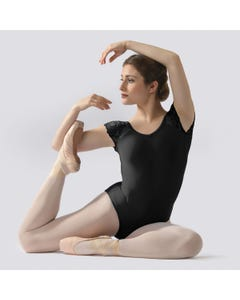Ballet Rosa Josephine Lace Cap Sleeve Leotard with Scoop Back