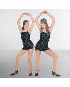 1st Position Contrasting Sequin Trim Glitz Dress