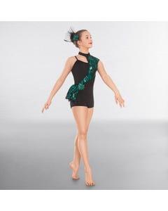 1st Position Asymmetrical Glitz Unitard with Side Peplum Skirt