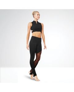 Bloch Gigi Asymmetric Plain Mesh Panel Stirrup Legging