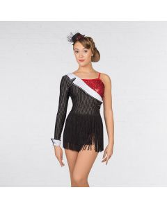 1st Position Asymmetric Pinstripe Sequin Fringe Leotard