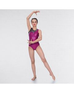 1st Position Karina Asymmetric Mesh Sleeveless Leotard