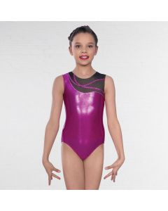 1st Position Kayla Asymmetric Mesh Sleeveless Leotard