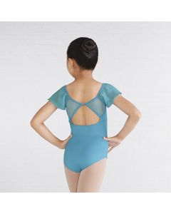 Mirella Embroidered Mesh Bodice Open Back Flutter Sleeve Leotard