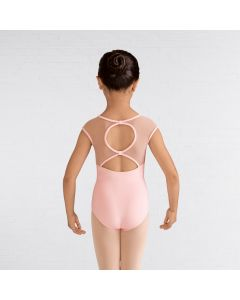 Mirella V Neck Applique Bow Back Cap Leotard