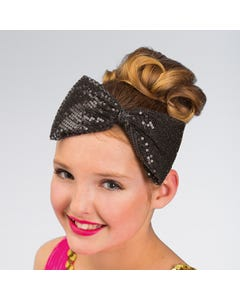 Large Sequin Bow Headband (Black)