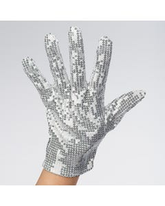 Single Silver Sequinned Glove (Double Sided)