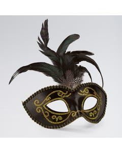 Black Gold Glitter Eye Mask with Gem & Feathers