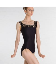 Wear Moi Arletty Flocked Mesh Tank Leotard